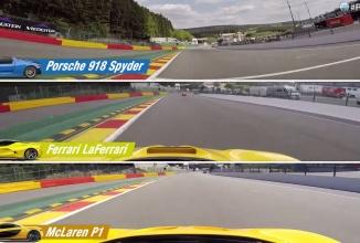 Ferrari LaFerrari, Porsche 918 Spyder şi McLaren P1 se duelează într-o cursă ultra încinsă pe Spa-Francorchamps (Video)