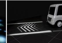 Mitsubishi a dezvoltat un sistem de semnalizare cu proiectoare pentru vehicule, care avertizează pietonii şi şoferii