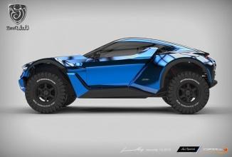 """Zarooq Sand Racer este un fel de """"Batmobil de vară"""", gata să ruleze pe orice suprafaţă, mai ales pe nisip"""