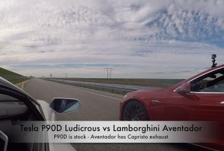 Un Lamborghini Aventador se întrece cu Tesla Model S P90D în Ludicrous Mode; O luptă foarte strânsă! (Video)