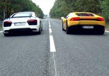 """Audi R8 V10 se înhamă la o cursă """"liniuţă"""" cu Lamborghini Huracan; Rezultatul surprinde! (Video)"""