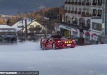 Drifting pe zăpadă la puterea a treia, cu un Ferrari F40; Un clip musai de văzut! (Video)
