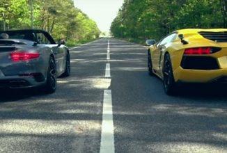 David versus Goliath; Porsche 911 Turbo Cabriolet este mai rapidă in linie dreaptă decât Lamborghini Aventador (Video)