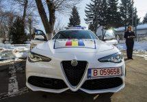 Poliția Rutieră Ilfov are de astăzi în flota de mașini un bolid Alfa Romeo Giulia Veloce; atinge 100 km/h în 5.2 secunde și vine cu 280 CP sub capotă